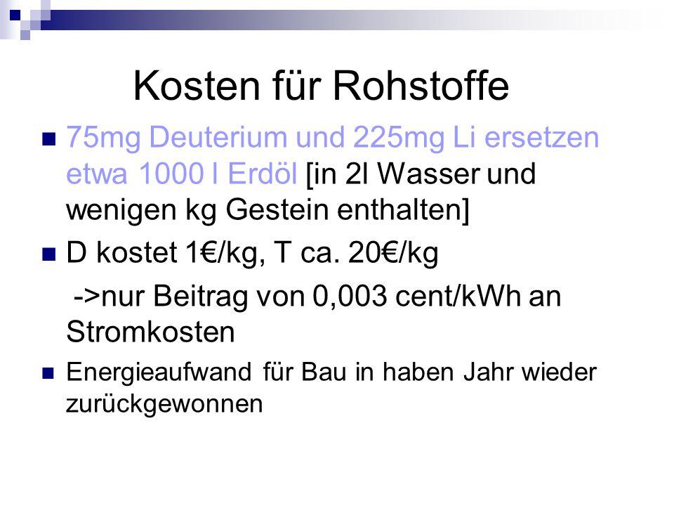 Kosten für Rohstoffe 75mg Deuterium und 225mg Li ersetzen etwa 1000 l Erdöl [in 2l Wasser und wenigen kg Gestein enthalten]